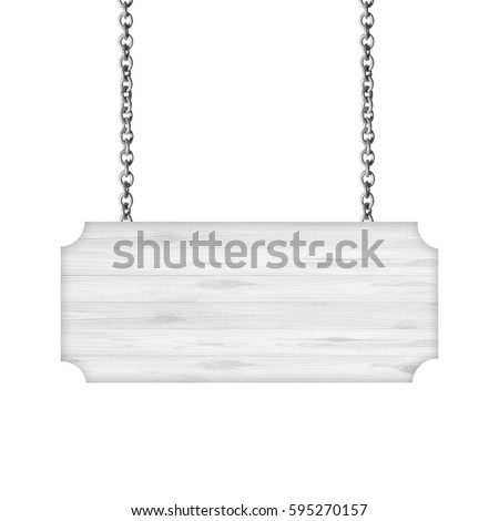 White Wooden sign hanging on a chain isolated on white