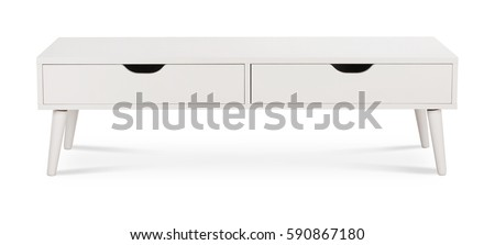 White wooden TV stand, bureau, commode with boxes. Modern designer, commode isolated on white background. Series of furniture