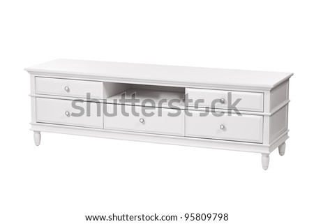 White wooden TV stand (chest of drawers) isolated over white background