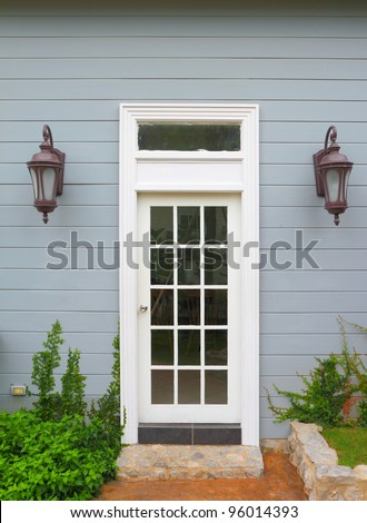 White wooden vintage door to the  house