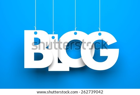 White word BLOG suspended by ropes on blue background