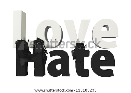 white word LOVE smashed black word HATE to pieces