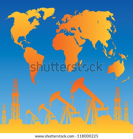 White World Map, Oil rig and oil pump. illustration.