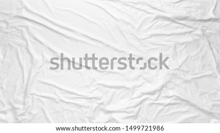 White wrinkled fabric texture. Paste poster template. Glued paper or fabric mockup.
