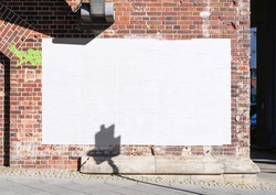 White wrinkled poster template. Glued paper mockup. Blank wheatpaste on textured wall. Empty street art sticker mock up. Clear urban glued advertising canvas. Billboard advertisment advertiser.
