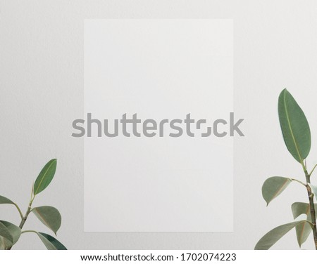 White wrinkled poster template. Isolated glued paper mockup. Blank wheatpaste   on textured wall, 3d rendering. Empty street art sticker mock up. Clear urban glued advertising canvas. Plant botanical.