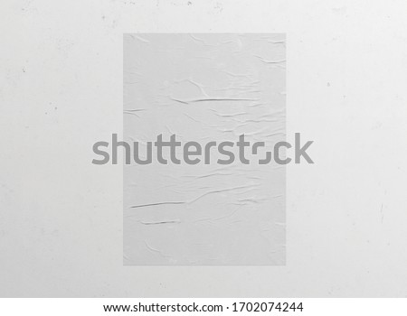 White wrinkled poster template. Isolated glued paper mockup. Blank wheatpaste   on textured wall, 3d rendering. Empty street art sticker mock up. Clear urban glued advertising canvas.