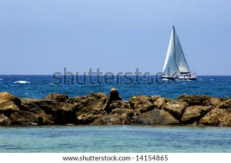 white yacht at sea, mediterranean sea, israel