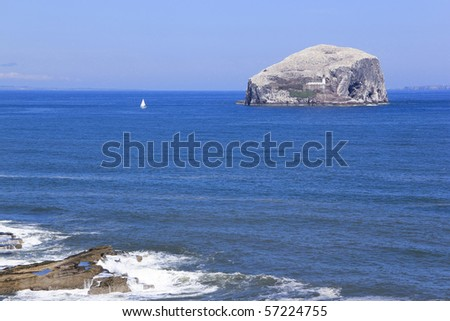 white yacht sailing past bass rock covered in white gannet seabirds at the mouth of the firth of forth in scotland - stock photo