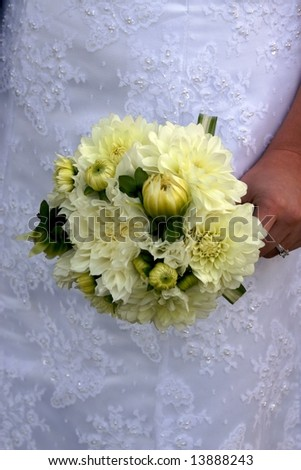 White Yellow Green Wedding Bouquet