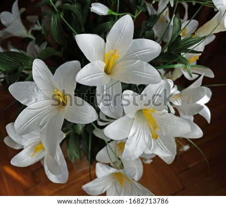 White Yellow Lilies Artificial Flower Closeup  Stok fotoğraf ©