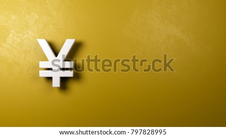 White Yuan Or Yen Chinese And Japanese Currency Symbol Shape Against