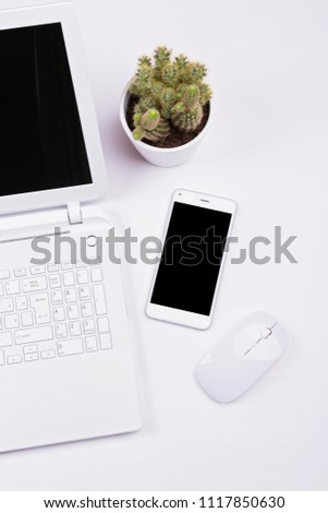 White zen minimalist office setup. Flat lay of smartphone, wireless mouse, laptop and cactus in a pot on white background. No retouch. Clean, closeup, copy space.