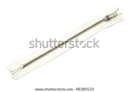 White zipper isolated on white