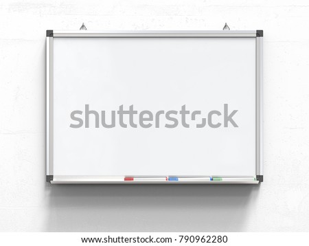 Whiteboard and Marker Pens. Blank Whiteboard with marker pens on white concrete wall. Scratched surface, blank for copy space. 3d render,