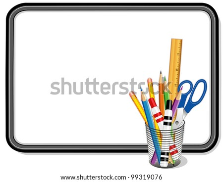 Whiteboard, Office and Art Supplies: pens, pencils, scissors, ruler. Copy space to add your own text, notes or drawings for school, home, business and office projects.