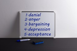Whiteboard on black table with words: denial, anger, bargaining, depression, acceptance. Marker with inscription Five stages of grief. Kubler-Ross model.