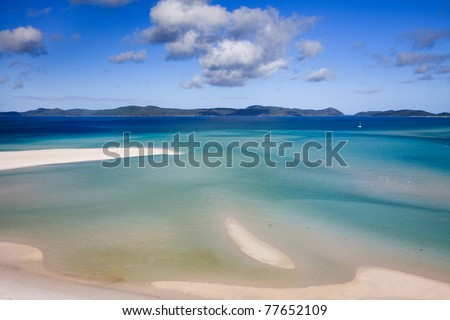 Whitehaven beach lagoon at national park queensland australia tropical coral sea world heritage open water view s - stock photo