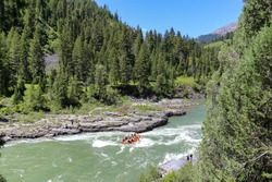 Whitewater rafting on the Snake River near Jackson Hole, Wyoming