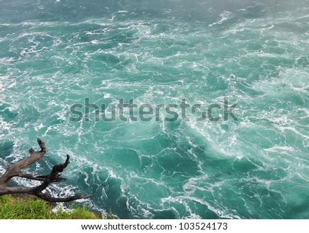 Whitewater surface close-up. Niagara River, Ontario, Canada