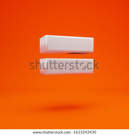 Whithe glossy 3d equals symbol on hot orange background. 3D rendering. Best for anniversary, birthday party, celebration. Stock photo ©
