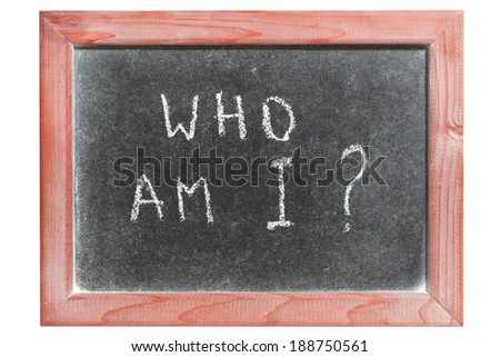 who am I question handwritten on isolated vintage chalkboard - stock photo
