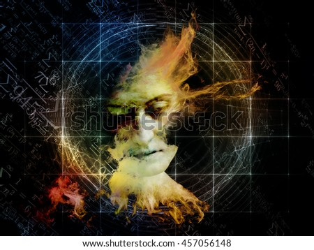 Stock Photo Who Are We series. Composition of surreal human portrait, fractal and mathematical patterns on the subject of philosophy, religion, math, science, technology and education