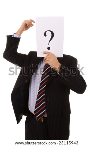 who is this businessman hiding behind the question mark (selective focus)
