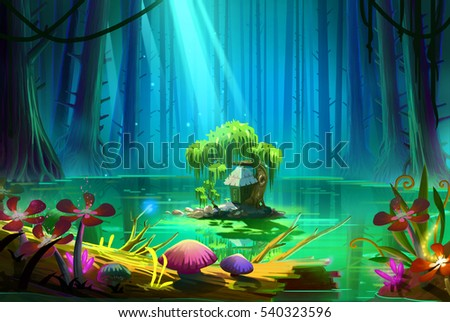 Stock Photo Who Lives there in the Middle of the Lake inside the Deep Forest. Video Game's Digital CG Artwork, Concept Illustration, Realistic Cartoon Style Background