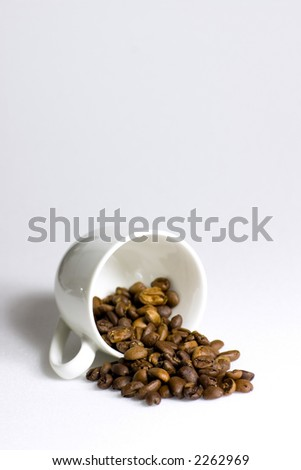 Who spilled the beans? A cup of coffee beans tipped over on a white background