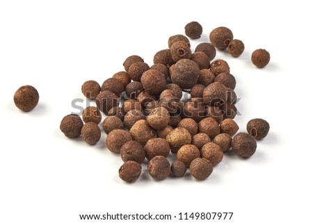 Whole allspice, isolated on white background. Aromatic allspice. #1149807977