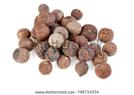 whole allspice isolated on white background. Aromatic allspice. #748714354