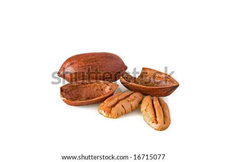 Whole and cracked pecan nuts against white