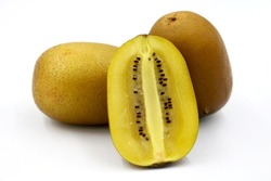 Whole and cut golden kiwifruit/ kiwi (Actinidia chinensis) on white background.Close-up of yellow kiwi fruit,Select focus only.