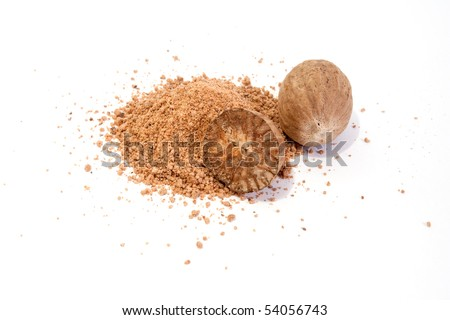 Whole and grated nutmeg isolated on white background