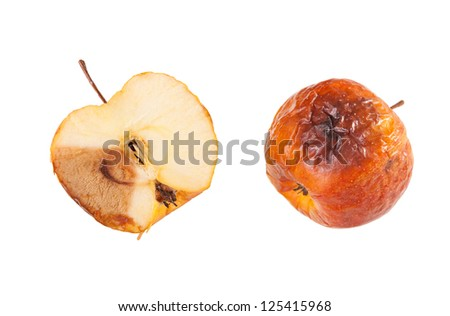 Whole and half decayed red apple fruit isolated on white background, wastage of bad rotten food. Nobody, horizontal orientation.