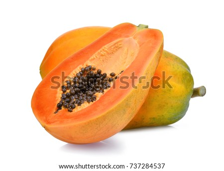 whole and half of ripe papaya fruit with seeds isolated on white background Stockfoto ©