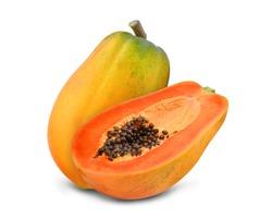 whole and half of ripe papaya isolated on white background