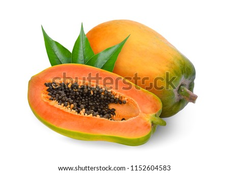 whole and half ripe papaya with green leaves isolated on white background Stockfoto ©