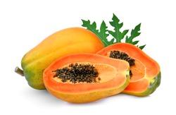 whole and half ripe papaya with leaf isolated on white background