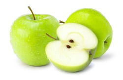 Whole and half slice of green granny smith apples isolated on white background.