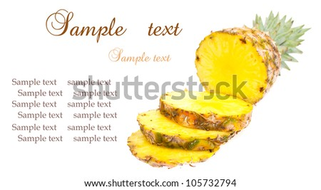 Whole and slice mini pineapples on the white background.