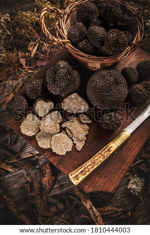 Whole and slice of delicacy black truffles mushroom Сток-фото ©