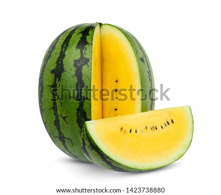 whole and slice yellow watermelon isolated on white background #1423738880