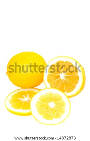 Whole and Sliced  Bright Yellow Meyer Lemons  Isolated on White Background