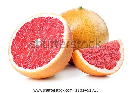 Whole and sliced grapefruit isolated on white background ストックフォト ©