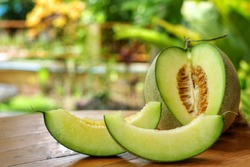 Whole and sliced of Honeydew melons,honey melon or cantaloupe (Cucumis melo L.) on wooden table with blurred garden background.Favorite fruit in summer.Fruits or healthcare concept.Selective focus.