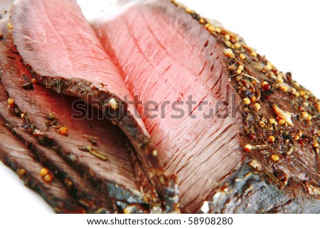whole beef meat slice on white background