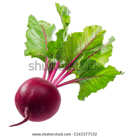Whole beet root with leaves isolated on white background. Package design element with clipping path