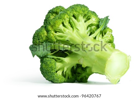 Whole Broccoli head isolated on white background with shadow